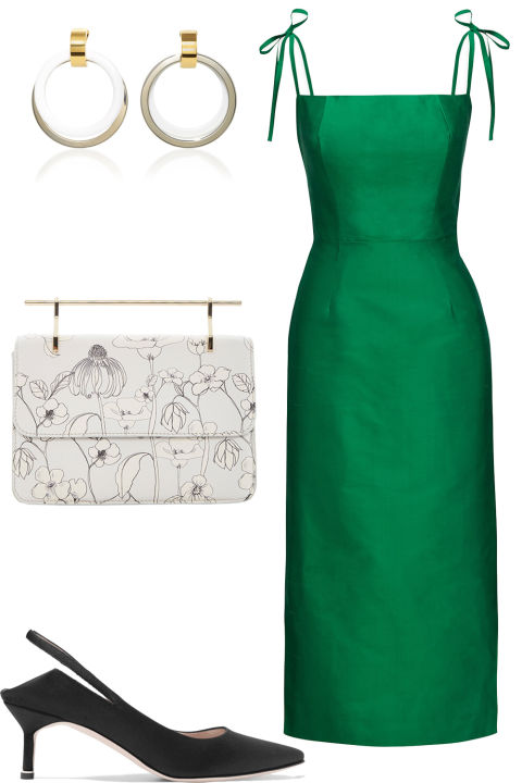 For cocktail hour, opt for something sophisticated yet feminine. A simple midi in a rich jewel tone is the perfect springtime alternative to the little black dress.  The Vampire's Wife dress, $830, thevampireswife.com; Marni earrings, $540, marni.com; M2Malletier bag, $1,380, modaoperandi.com; Vetements x Manolo Blahnik pump, $1,585, net-a-porter.com.